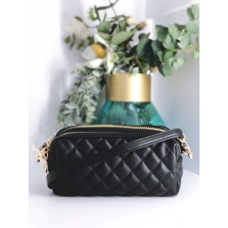 Malissa J Double Zip Quilted Crossbody Bag - Black