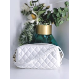 Malissa J Double Zip Quilted Crossbody Bag in White