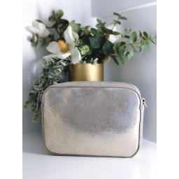 Malissa J Leather Zip Crossbody Bag - Metallic