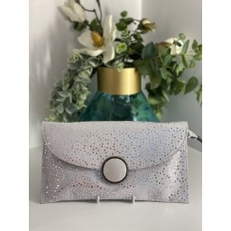 Malissa J Button Leather Clutch - White Spot