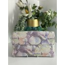 Fold Leather Clutch - Floral