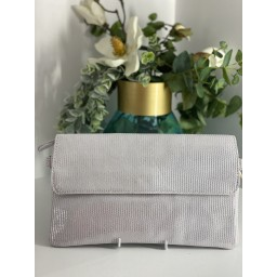 Malissa J Fold Leather Clutch - Silver