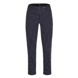 Robell Trousers Bella 09 Pinstripe Trousers in Navy