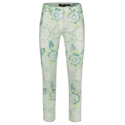 Robell Trousers Rose 09 Abstract Floral Trousers - Green
