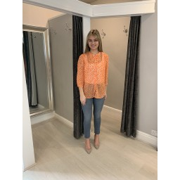 French Connection Etta Kiss Print Collarless Shirt  - Orange