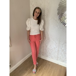 Lucy Cobb Tie Waist Joggers in Coral