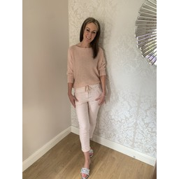 Lucy Cobb Pinstripe Crinkle Joggers in Baby Pink