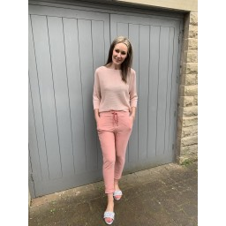 Lucy Cobb Satin Bow Back Jumper in Blush Pink