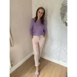 Lucy Cobb Satin Bow Back Jumper in Lilac