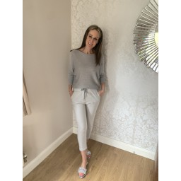 Lucy Cobb Satin Bow Back Jumper in Silver Grey