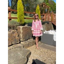 Lucy Cobb Aztec Tiered dress - Fuchsia