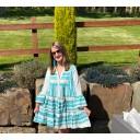 Aztec Tiered dress - Aqua