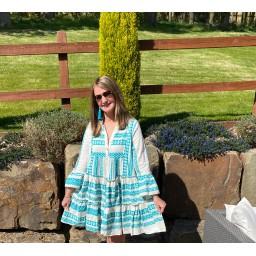Lucy Cobb Aztec Tiered dress in Aqua