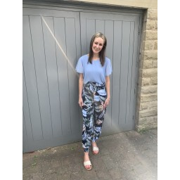 Lucy Cobb Tropical Joggers in Blue Mix