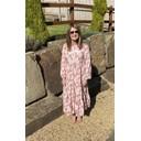 Tanya Tiered Midi Dress  - Pink Leaf