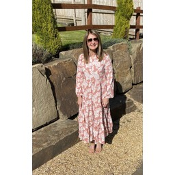 Lucy Cobb Tanya Tiered Midi Dress  - Pink Leaf