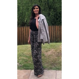 Lucy Cobb Ava Animal Wide Leg Trousers  in Grey Animal Print