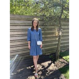 Lucy Cobb Della Denim Tiered Dress - Light Denim Blue