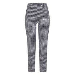 Robell Trousers Bella 09 Geo Print Trousers in Navy