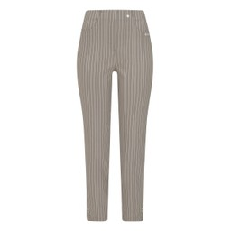 Robell Trousers Bella 09 Pinstripe Trousers - Light Taupe