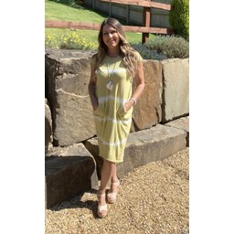 Lucy Cobb Taylor Tie Dye T Shirt Dress in Yellow