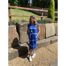 Lucy Cobb Taylor Tie Dye T Shirt Dress in Royal
