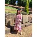 Aztec Tiered Maxi Dress - Fuchsia