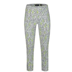 Robell Trousers Bella 09 Leo Print with Neon Trousers - Silver Grey
