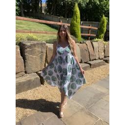 Lucy Cobb Palm Leaf Handkerchief Dress - White Leaf