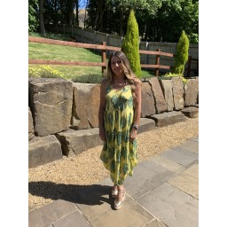 Lucy Cobb Palm Leaf Handkerchief Dress in Yellow Leaf
