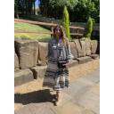 Aztec Tiered Maxi Dress - Black