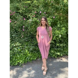 Lucy Cobb Taylor T Shirt Dress in Dusky Pink