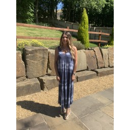 Lucy Cobb Tie Dye Maxi Dress  in Navy