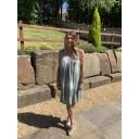 Lace Sleeve Tie Dye Dress - Khaki