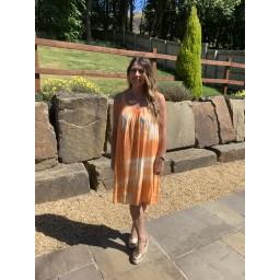 Lucy Cobb Lace Sleeve Tie Dye Dress in Orange