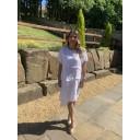 Linen Button Dress - White