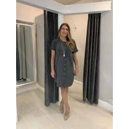 Lucy Cobb Sky Button Dress in Charcoal