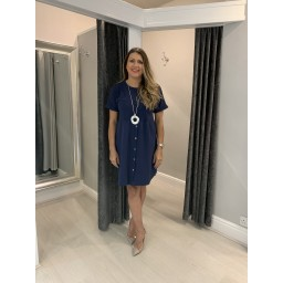 Lucy Cobb Sky Button Dress in Navy