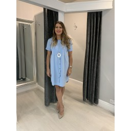 Lucy Cobb Sky Button Dress in Pale Blue (611)