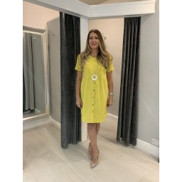 Lucy Cobb Sky Button Dress in Yellow