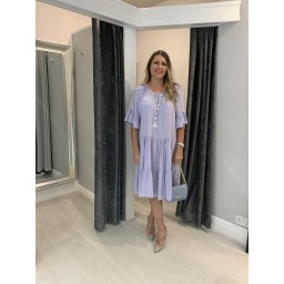 Lucy Cobb Thea Tiered Midi Dress in Lilac