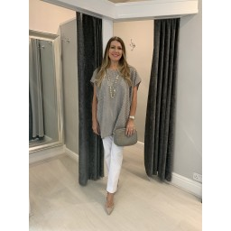 Lucy Cobb Polly Pinstripe Tunic in Taupe