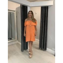 Lucy Cobb Era Frill Linen Dress in Orange