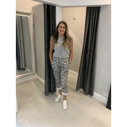 Lucy Cobb Animal Print Joggers in Black and White Animal Print