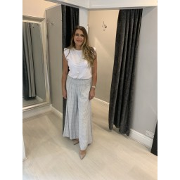 Lucy Cobb Poppy Palazzo Trousers  in Silver Grey