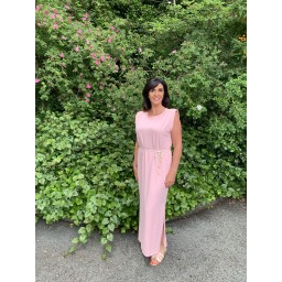 Lucy Cobb Pip Padded Maxi Dress  in Baby Pink
