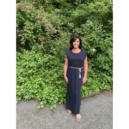 Lucy Cobb Pip Padded Maxi Dress  in Navy