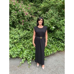 Lucy Cobb Pip Padded Maxi Dress  in Black