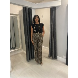 Lucy Cobb Leopard Palazzo Trousers - Leopard Print Brown