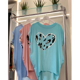Lucy Cobb Heart Oversized Tee - Turquoise